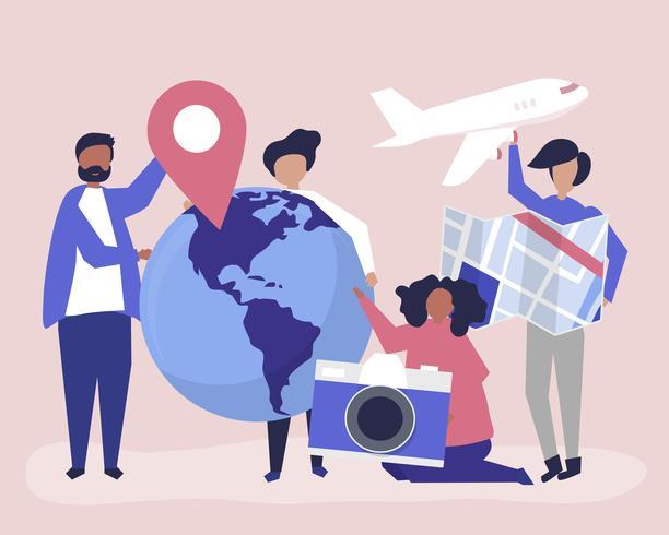 Mensen houden van reizen gerelateerde pictogrammen