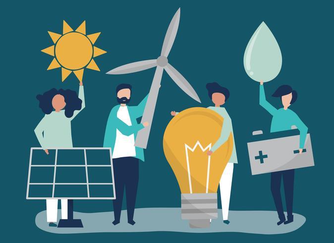 Personagens de pessoas segurando ícones de energia verde
