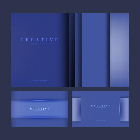 Set kreative Hintergrunddesigne im Blau