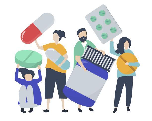 Tecken på personer som innehar farmaceutiska ikoner illustration vektor