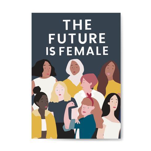 Framtiden är kvinnlig vektor