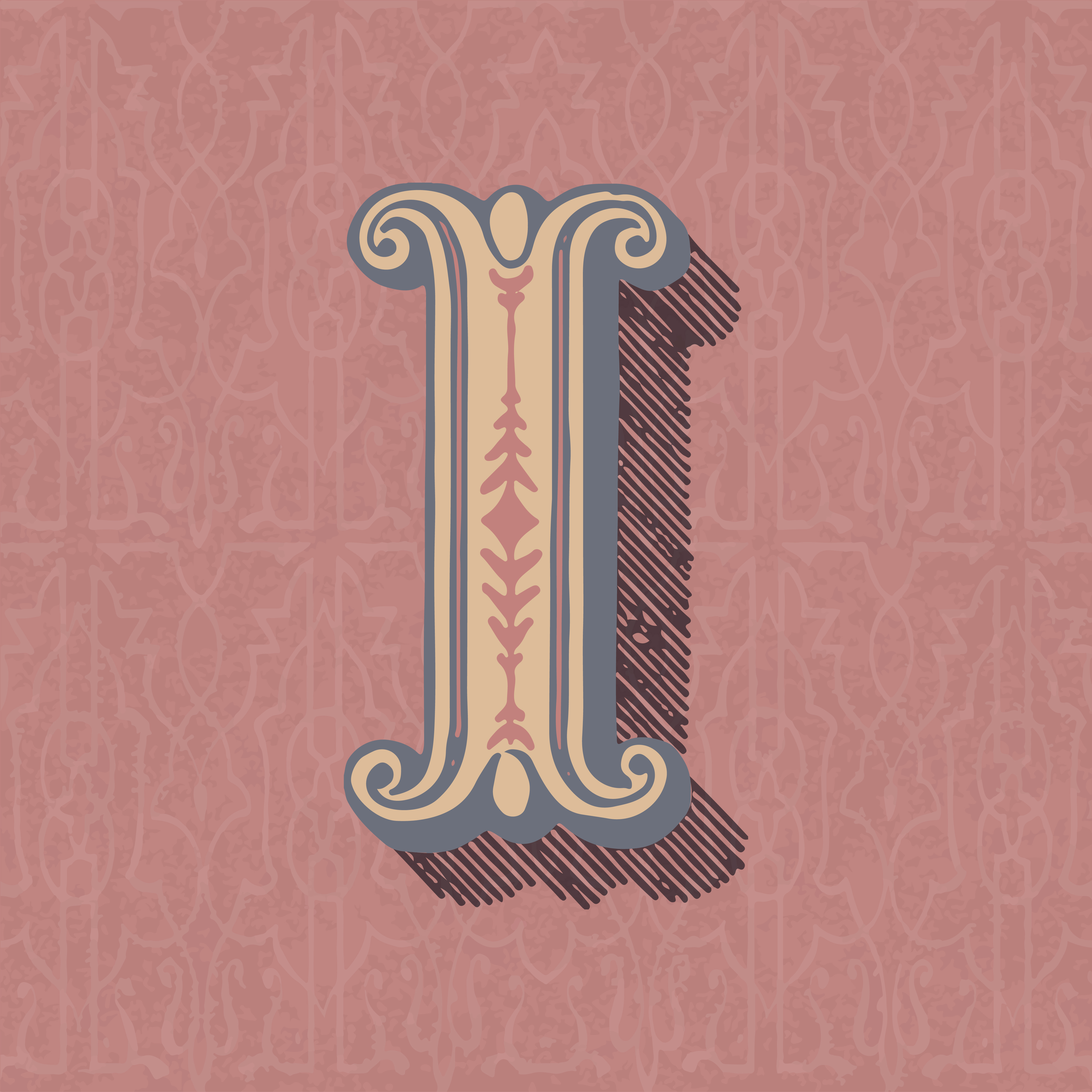 Capital letter I vintage typography style - Download Free ...