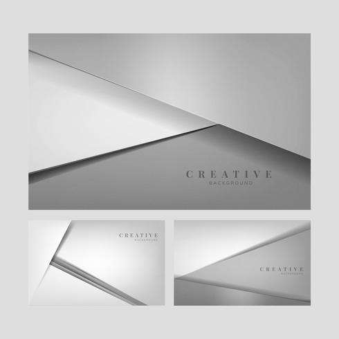 Set of abstract creative background designs in light gray