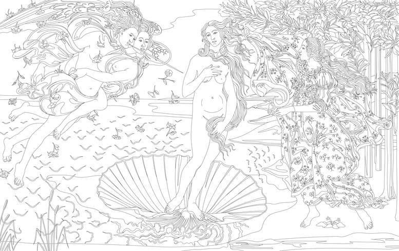 De geboorte van Venus (1483-1485) door Sandro Botticelli volwassen kleurplaat