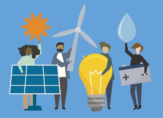 Personnes avec illustration d'énergies renouvelables vecteur