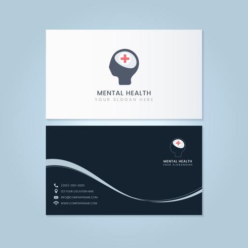 Mental health psychiatrist name card mockup vector
