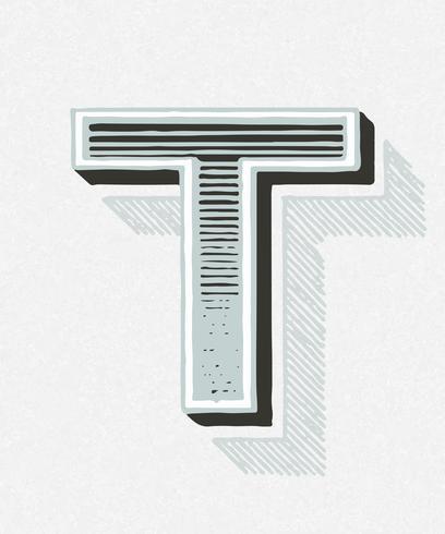 Style de typographie vintage T majuscule