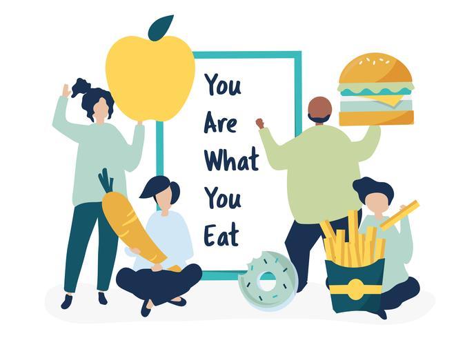 Gente con ilustración de iconos de comida