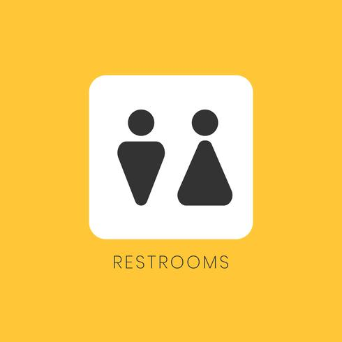 Yellow and white restrooms sign vector