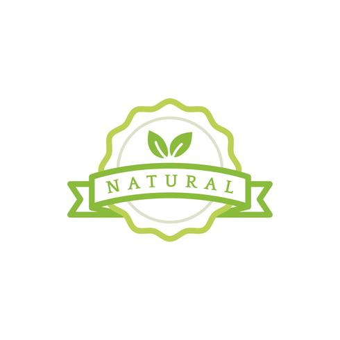 Ilustração de distintivo de emblema de produto natural