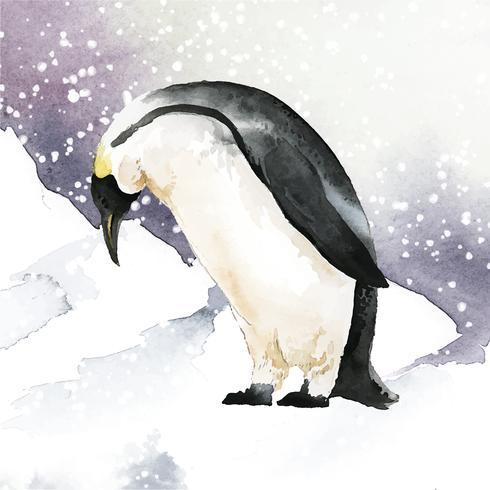 Emperor penguin in the snow watercolor vector