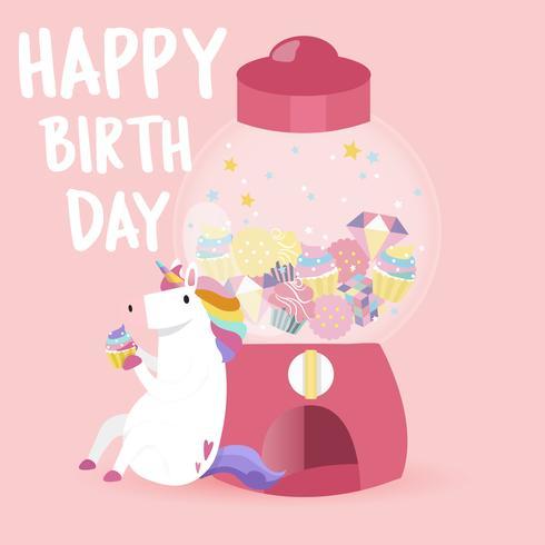 Vetor de cartão de feliz aniversário de unicórnio fofo