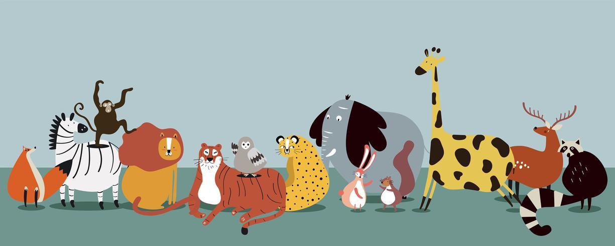 Carino gruppo di animali selvatici vettoriale