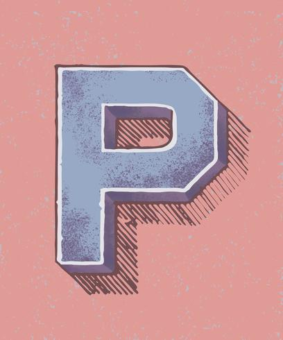 Huvudstämpel P vintage typografi stil