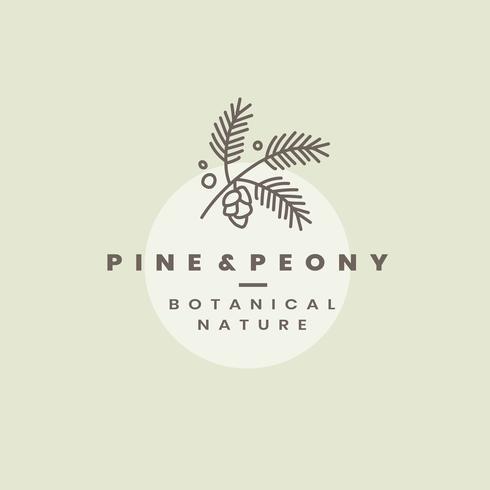 Pine & Peony logo design vector