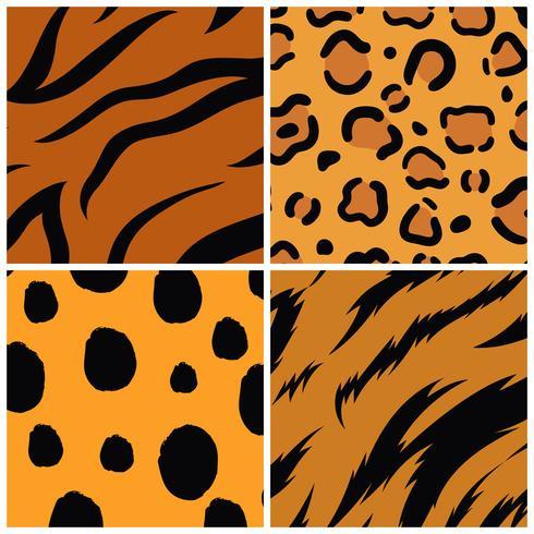 Set van naadloze dierenprint patroon vectoren