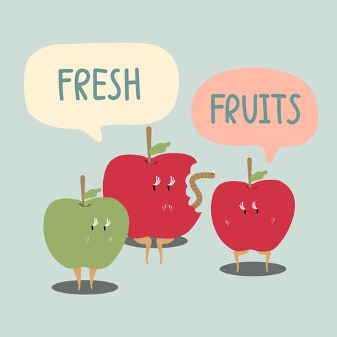 Vecteur de personnage de dessin animé de pommes fraîches rouges et vertes
