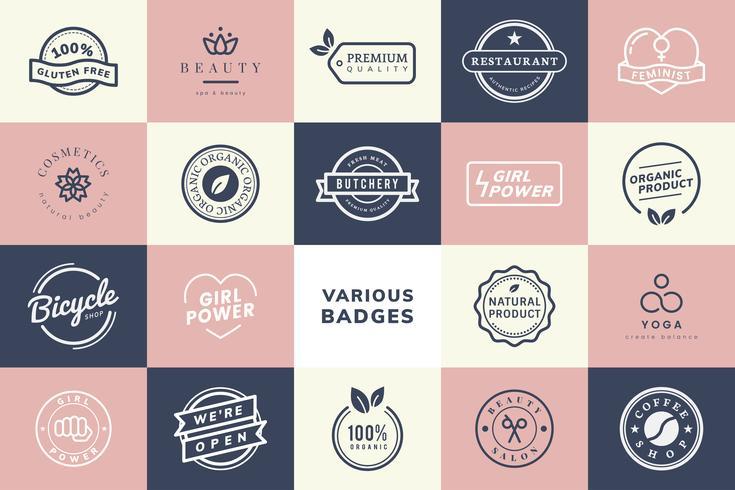 Samling av logotyper och emblemsvektorer