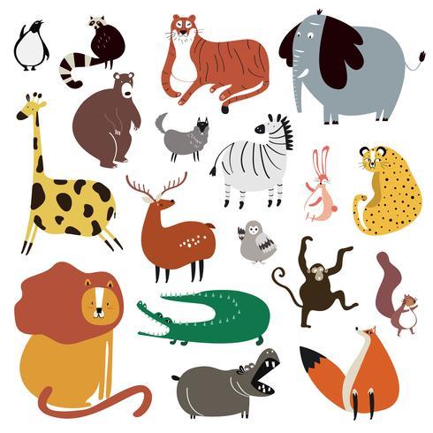 Samling av söta vilda djur i tecknad stil vektor