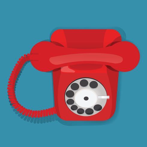 Illustratie van een rode vintage telefoon