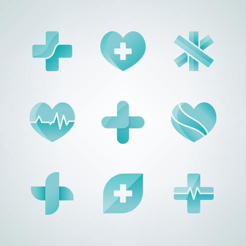 Ziekenhuis en geneeskunde pictogrammen