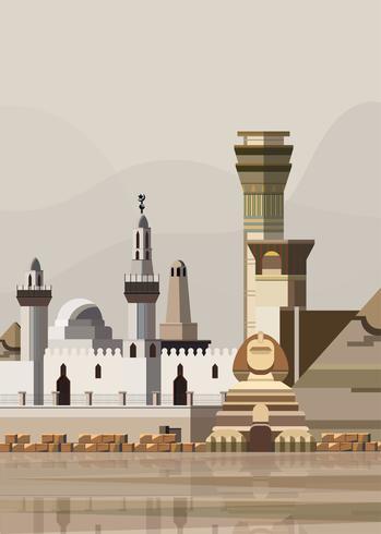 Ilustración de hitos egipcios vector