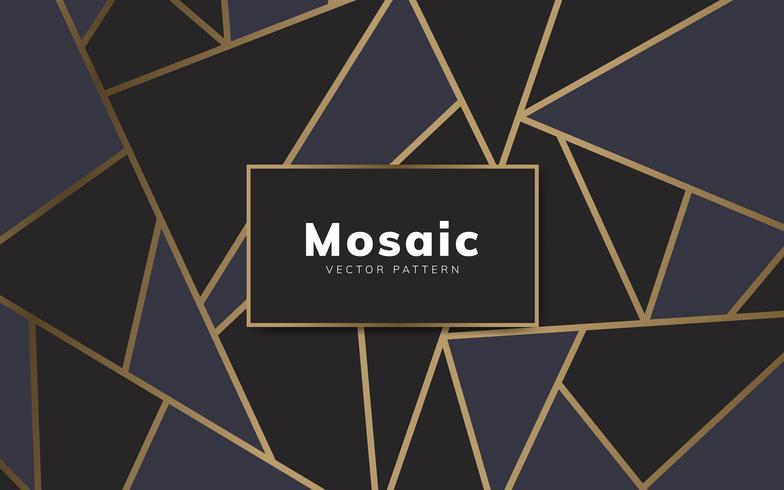 Papel pintado moderno mosaico en negro y oro