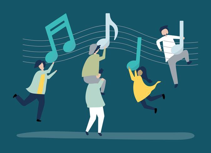 Gente che balla alla musica con note musicali che fluttuano nell'aria