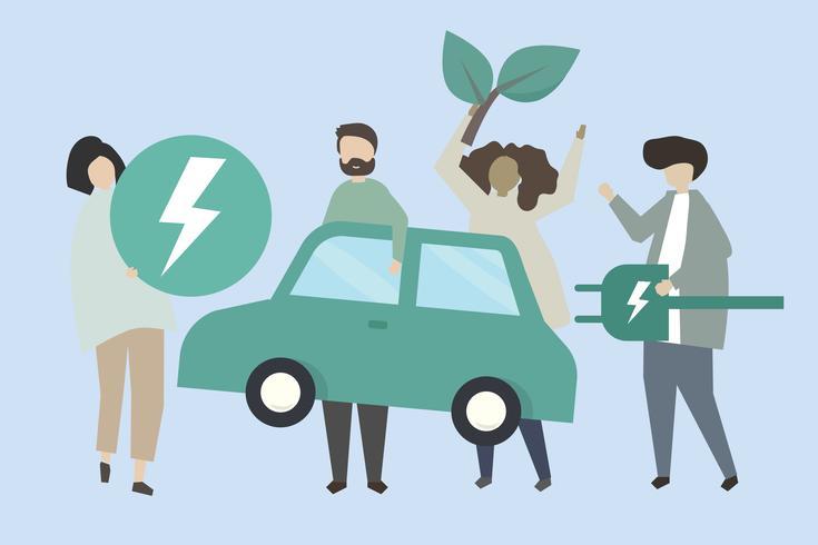 Pessoas, com, um, carro elétrico, ilustração