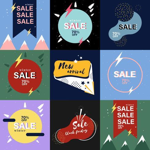 Conjunto de gráficos de publicidade de venda