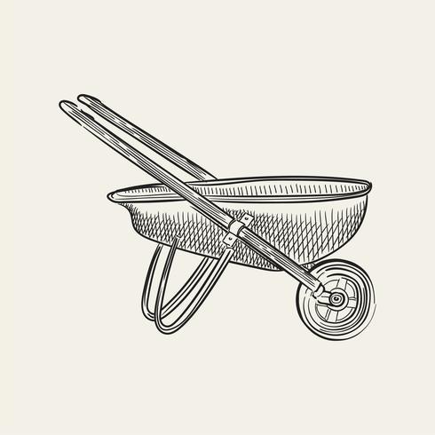 Illustrazione d'epoca di una carriola