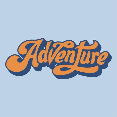 Avontuur woord typografie stijl illustratie