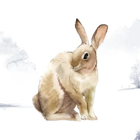Wild bruin konijn in een de wintersprookjesland dat door waterverfvector wordt geschilderd