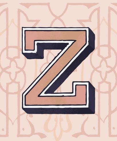 Hoofdletter Z vintage typografie stijl