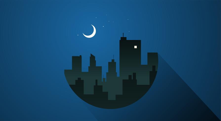 Vettore notturno della città