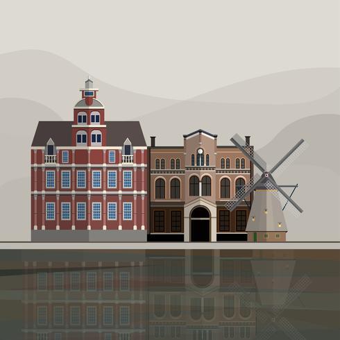 Ilustración de la atracción turística de Holanda.