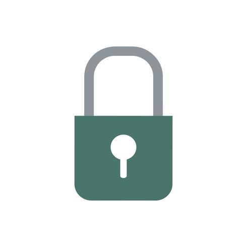 Donkergroene kleur lock vector pictogram