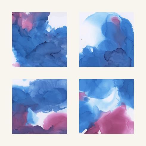 Conjunto de plano de fundo texturizado aquarela tinta colorida