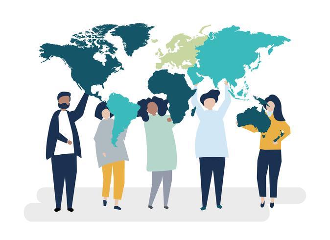 Karaktär illustration av olika människor och världen