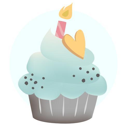 Vector de cupcake azul con una vela