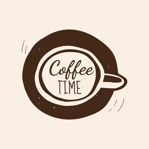 Vettore di logo di caffè tempo caffè