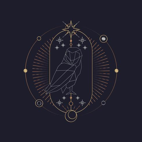 Carte de tarot astrologique hibou géométrique
