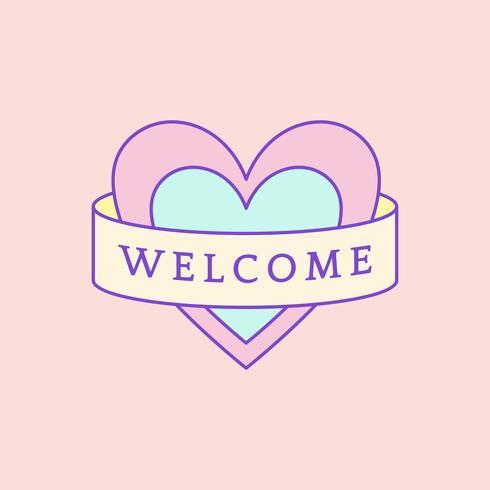 Linda y femenina insignia de bienvenida vector