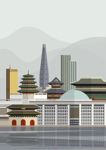 Ilustración de puntos de referencia de Corea del Sur