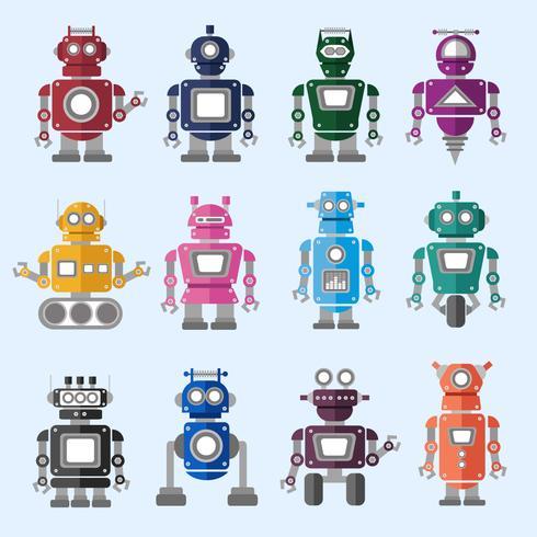Ilustración de conjunto de iconos de robot