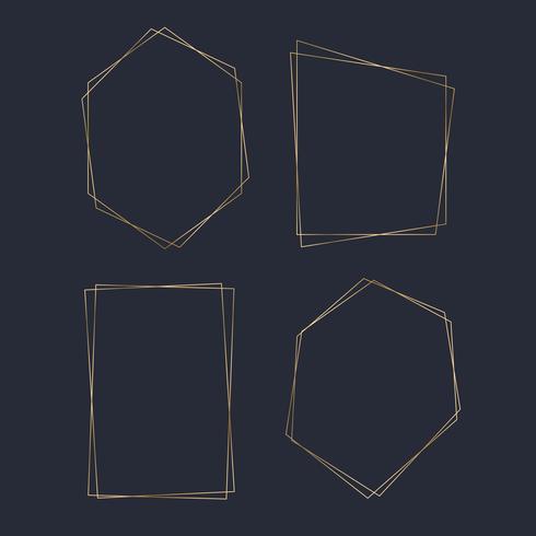 Guld blank polygon ram vektor uppsättning