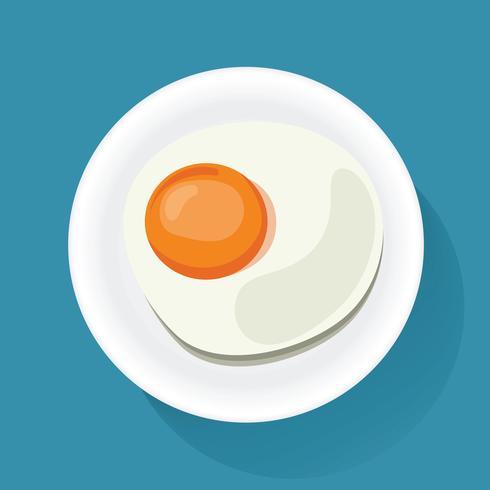 Uovo fritto sul vettore dell'illustrazione dell'icona dell'alimento di prima colazione del piatto