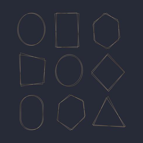 Conjunto de vectores de marco de oro en blanco