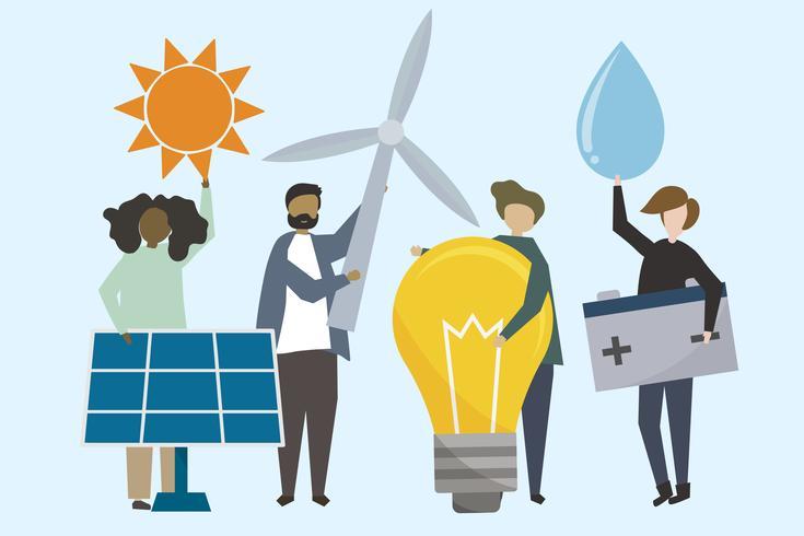 Leute mit Illustration der erneuerbaren Energien