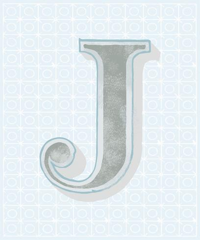 Capital letter J vintage typography style
